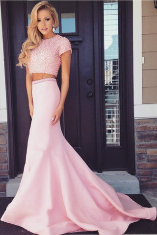 Pink Mermaid Two-piece Backless Prom Dress with Beading,SVD321