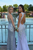 Decent Mermaid Lavender Backless Prom Dress with Beading,SVD323