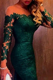 Elegant  Dark Green Off-shoulder Lace Mermaid Prom Dress with Long Sleeves, SVD326