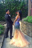 Elegant Two Pieces Tulle Mermaid Prom Dresses with Beading,SVD327