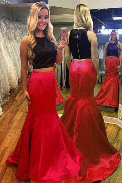Perfect 2 Pieces Red Sweep Train Mermaid Scoop Sleeveless Prom Dress,SVD328