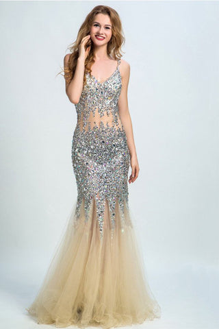 Sweetheart Mermaid Open Back Prom Dress Evening Dress With Beading, SVD332