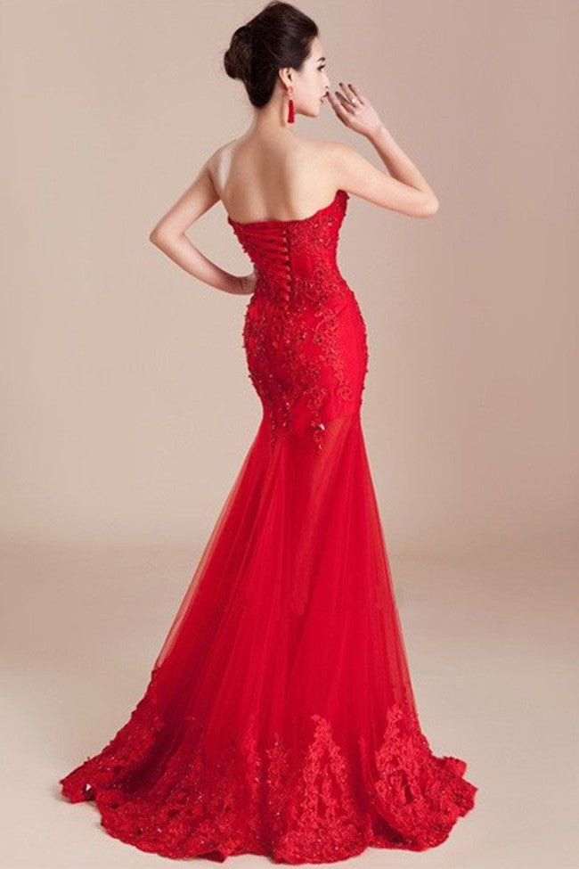Decent Long Mermaid Lace Sweetheart Prom Dress with Appliques and Beading,SVD333