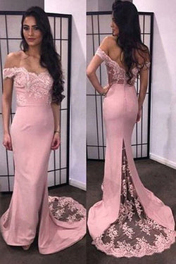 Decent Sweetheart Mermaid Off shoulder Long Prom Dress with Sweep Train,SVD335