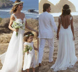 Simple Straps A-line Backless Wedding Dresses with Appliques Chiffon Bridal Gown, SW100