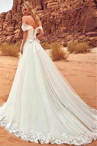 simidress.com | White Off Shoulder Wedding Dresses with Sweep Brush Train, SW102