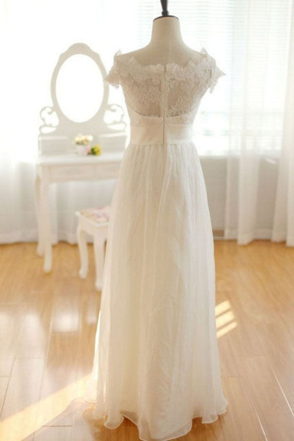 Elegant Chiffon Ivory Long Lace Wedding Dresses, Pretty Bridal Gown, SW103