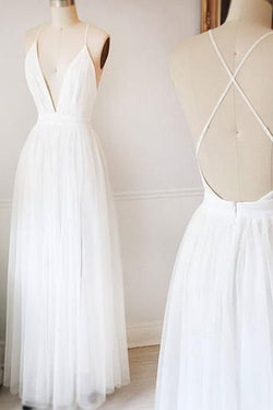 Simple Tulle White V Neck Wedding Dresses,Long Prom Dresses, SW107