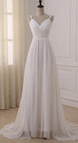White V Neck Chiffon Straps Wedding Dresses with Sweep Train, SW108