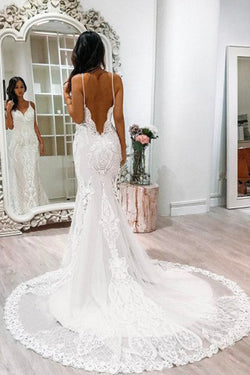 White Lace Tulle Mermaid Spaghetti Straps Court Train Wedding Dress with Appliques, SW114
