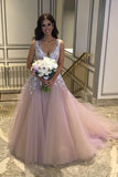 Cheap V Neck Wedding Dress With Lace Flowers, Tulle Wedding Gowns, SW115