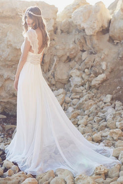 Fabulous Cap Sleeves Tulle Beach Wedding Dress with Lace, SW118