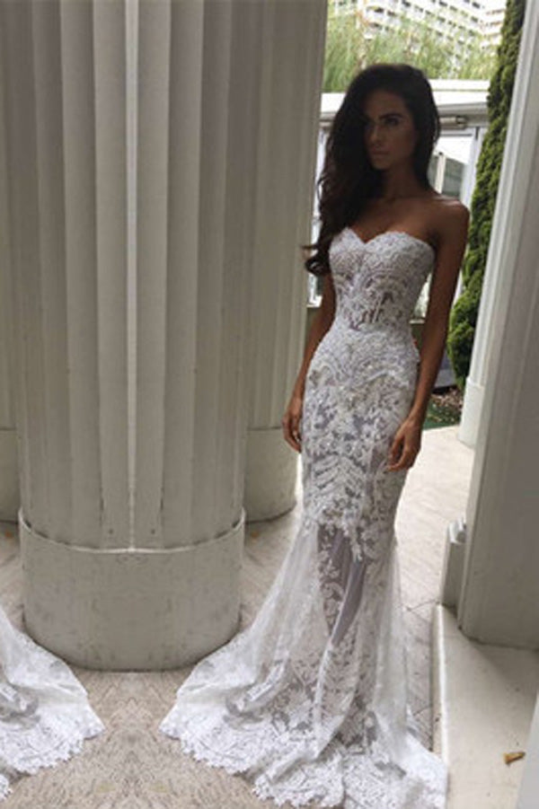 Gorgeous Mermaid Formal Off Shoulder Sweetheart Wedding Dress, SW121