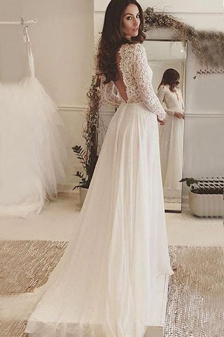 Ivory Chiffon V-Neck Long Sleeves Backless Wedding Dress with Lace, SW122
