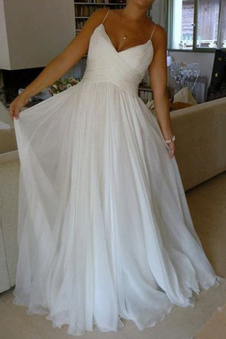 White Chiffon A-line V-neck Court Train Wedding Dresses with Ruffles, SW123