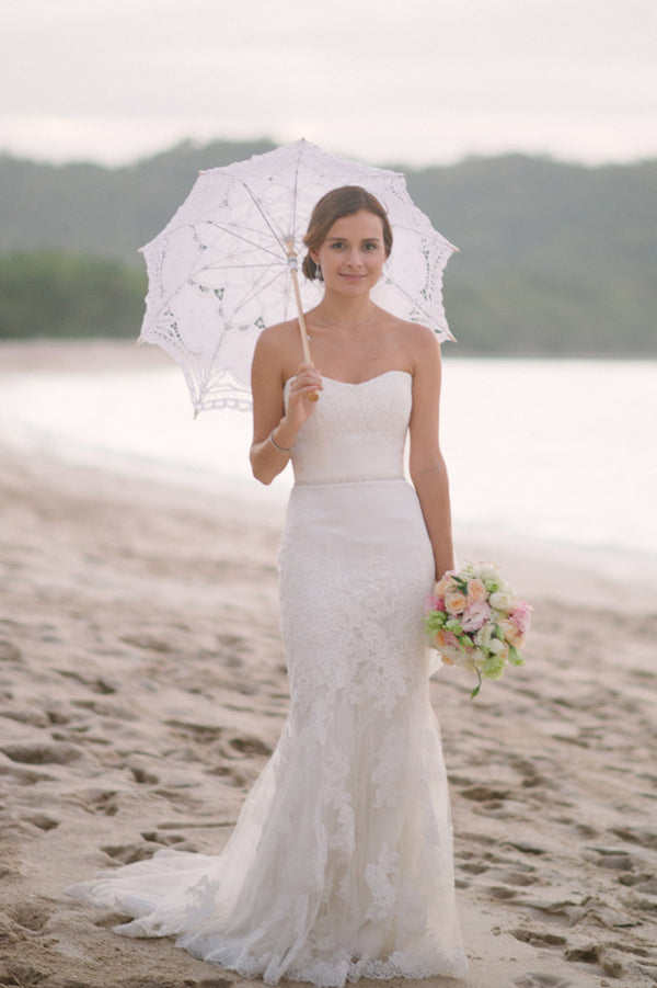 Sweetheart Off Shoulder Strapless Lace Mermaid Beach Wedding Dress, SW125
