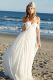 Ivory Chiffon A-line Off Shoulder Summer Beach Wedding Dresses, SW127