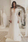 Charming Affordable V Neck Long Sleeves Formal Long Wedding Dresses, SW129