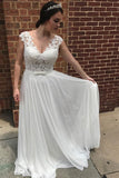 Chiffon Lace Appliqued A-line V-neck See-through Beach Wedding Dresses, SW131