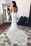White Lace Mermaid Deep V-Neck Split Wedding Dress with Court Train, SW133