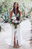 Order White Lace Mermaid Deep V-Neck Split Wedding Dress with Court Train, SW133 at www.simidress.com