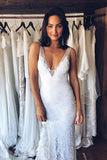 White Lace Mermaid Deep V-Neck Split Wedding Dress with Court Train, SW133 - Simidress.com