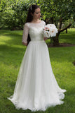 Half Sleeves Lace Bodice Wedding Dresses,Cheap Bridal Gowns, SW134