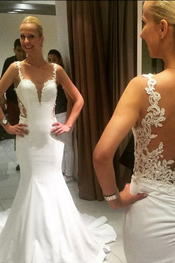 Gorgeous Lace Vintage Mermaid Backless Sweetheart Wedding dresses, SW136