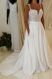 Sweetheart Neck Lace Top Spaghetti Strap Wedding Dress with Pocket on Skirt, SW141