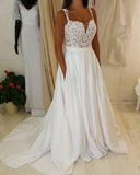 Sweetheart Neck Lace Top Spaghetti Strap Wedding Dress with Pocket on Skirt at simidress.com