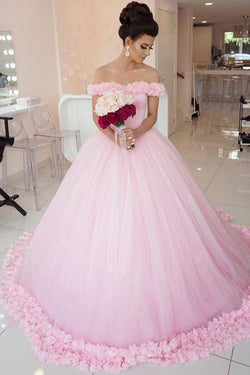 Pink Tulle Ball Gown Off shoulder Wedding Dresses,Gorgeous Quinceanera Dresses, SW142