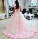 Pink Tulle Ball Gown Off shoulder Wedding Dresses,Gorgeous Quinceanera Dresses at simidress.com