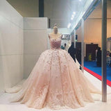 Pink Lace Applique Beads Ball Gown Wedding Dress Quinceanera Dress at simidress.com