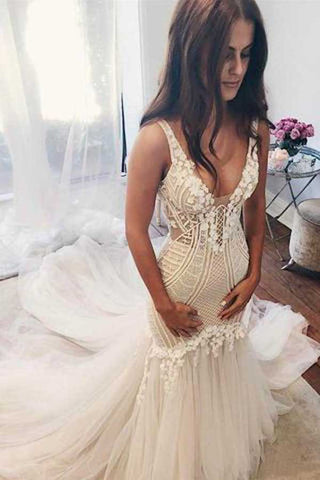 Gorgeous Tulle V-Neck Lace Mermaid Ivory Sleeveless Wedding Dresses, SW144