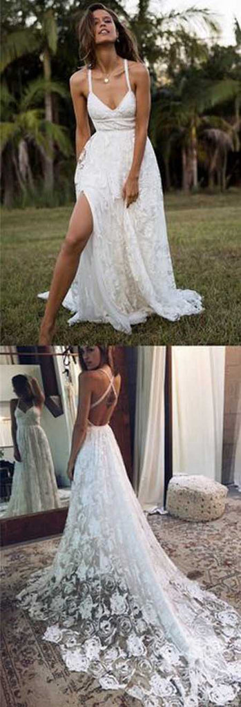 Charming A-line Lace Long Fashion Spaghetti Straps Wedding Dresses at simidress.com