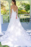 Fabulous White A-Line Backless Spaghetti Straps Long Lace Wedding Dress from simidress.com