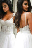 Elegant Backless Sweep Train Wedding Dress with Lace Top Spaghetti Straps, SW150