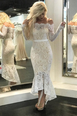 Vintage Lace Cocktail Off Shoulder Mermaid Bridal Gowns Beach Wedding Dresses, SW153