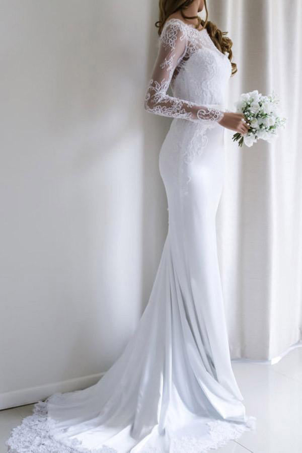 Elegant White Lace Long Sleeves Mermaid Long Wedding Dress with Train, SW155