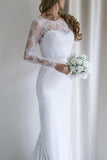 Elegant White Lace Long Sleeves Mermaid Long Wedding Dress with Train from simidress.com