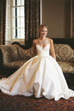 Gorgeous Satin A-line Sleeveless Spaghetti Strap Lace Wedding Dress Bridal Gowns, SW1557