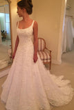 Fabulous White A-line Sleeveless Scoop Sweep Train Wedding Dress with Appliques, SW158