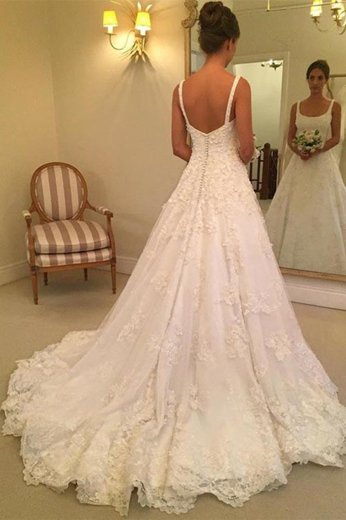 Fabulous White A-line Sleeveless Scoop Sweep Train Wedding Dress with Appliques, SW158 at simidress.com