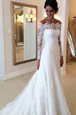 Gorgeous Ivory Long Sleeves Vintage Wedding Dresses, Off Shoulder Bridal Gown, SW159