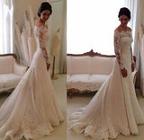 Gorgeous Ivory Long Sleeves Vintage Wedding Dresses, Off Shoulder Bridal Gown, SW159 at simidress.com