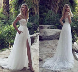 Fabulous Boho Lace Off Shoulder Cap Sleeves Beach Wedding Dress with Slit, SW161 at simidress.com