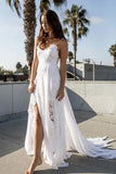 Charming White Chiffon Lace A-line Spaghetti Strap Beach Wedding Dress, SW162