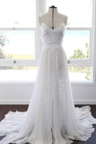 Charming White Chiffon Lace A-line Spaghetti Strap Beach Wedding Dress, SW162 at simidress.com