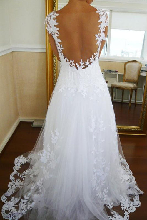 simidress.com offer White See-through Sleeveless A-Line Lace Straps Wedding Dresses, Bridal Gowns, SW163