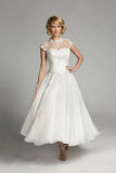 Ivory Beaded Organza Vintage High Neck Lace Tea Length Cap Sleeve Wedding Dress, SW164